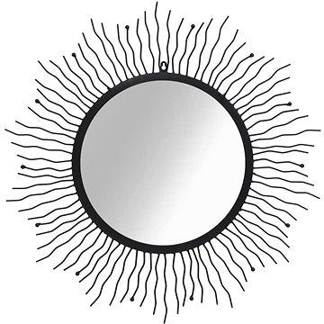 Nástěnné zrcadlo Zářící slunce 80 cm černé (245924)