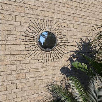 Zahradní nástěnné zrcadlo Zářící slunce 60 cm černé (275611)