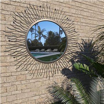 Zahradní nástěnné zrcadlo zářící slunce 80 cm černé (275612)