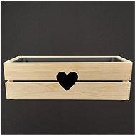 AMADEA Dřevěný obal na truhlík se srdcem, 52x21,5x17cm - Truhlík