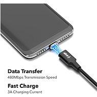 AlzaPower MagCore 2in1 USB-C + Micro USB, 3A, 1m černý - Datový kabel
