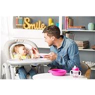 Chicco jídelní set, talíř, lžička, hrnek, 6 m+, růžový - Dětská jídelní sada