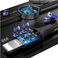 Baseus 4v1 bezdrátová nabíječka pro Apple Watch + Lightning / microUSB / USB-C výstupy 1.2m šedá - Bezdrátová nabíječka