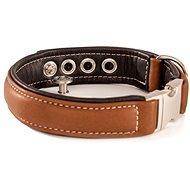 Maelson Ručně šitý obojek z pravé kůže - hnědý - obvod krku 49 - 55 cm, tloušťka obojku 45 mm - Kožený obojek pro psy