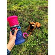 Kiwi Walker Cestovní láhev 2in1, růžovo modrá, 750 + 500 ml - Cestovní láhev pro psy a kočky