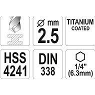 """Yato Vrták na kov TITAN 1/4"""" 2,5mm - Vrták"""