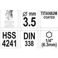 """Yato Vrták na kov TITAN 1/4"""" 3,5mm - Vrták"""