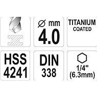 """Yato Vrták na kov TITAN 1/4"""" 4mm - Vrták"""