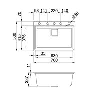 ELLECI KARISMA 120 G43  - Granitový dřez