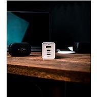 FIXED GaN s 2xUSB-C a USB výstupem podpora PD 65W bílá - Nabíječka do sítě