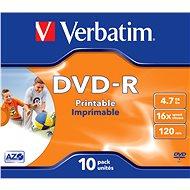 VERBATIM DVD-R AZO 4.7GB, 16x, printable, jewel case 10 ks - Média