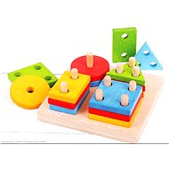Dřevěná motorická hračka - Nasazování tvarů na tyče - Didaktická hračka