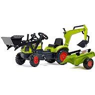 Traktor šlapací Claas Arion 410 s přední a zadní lžící a valníkem - Šlapací traktor