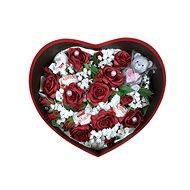 Dárkový box ve tvaru srdce s nízkým rudým flower boxem, svíčkou ve tvaru medvídka a Raffaellem 27 cm - Dárkový box
