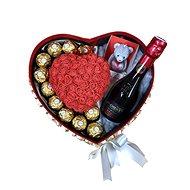 """Dárkový box """"Merci"""" s červeným srdcem z růžiček a sektem 28,5 cm - Dárkový box"""