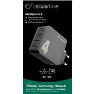 Cellularline Multipower 4 s technologií Smartphone Detect 4 x USB port 42W černá  - Nabíječka do sítě