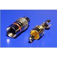OEM Konektor cinch(M) na kabel, červený pruh, zlacený - Konektor
