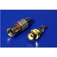 OEM Konektor cinch(F) na kabel, červený pruh, zlacený - Konektor