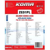 KOMA ZE01PL - Sáčky do vysavače Zelmer Cobra, Flip, Furio s plastovým čelem, textilní, 4ks - Sáčky do vysavače