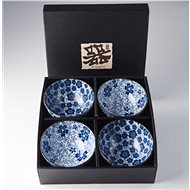 Made In Japan Set misek Blue Plum & Cherry Blossom Design 300 ml 4 ks - Sada misek