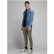 Jack & Jones Tmavě zelené kalhoty s příměsí lnu Paul S 31/32 - Kalhoty