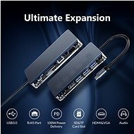 Orico USB-C Hub 11 in 1 Transparent, SD/TF reader, Power Delievery, Ethernet, VGA, Audio - USB Hub