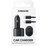 Samsung Duální autonabíječka s podporou superrychlého nabíjení 45W a dvěmi konektory USB-C a USB-A - Nabíječka do auta