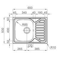SINKS OKIO 650 V 0,6mm leštěný - Nerezový dřez