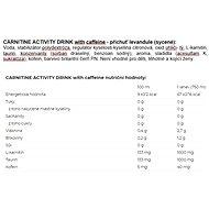 Nutrend Carnitine Activity Drink with Caffeine 750 ml, levandule, jemně sycený - Spalovač tuků