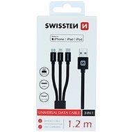 Swissten textilní datový kabel 3v1 MFi 1.2m černý - Datový kabel