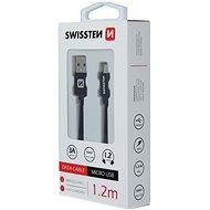 Swissten textilní datový kabel micro USB 1.2m černý - Datový kabel