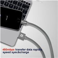 Swissten textilní datový kabel micro USB 2 m černý - Datový kabel