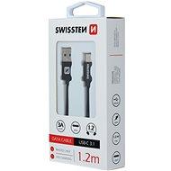 Swissten textilní datový kabel USB-C  1.2m černý - Datový kabel