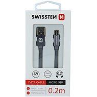 Swissten textilní datový kabel micro USB 0.2m šedý - Datový kabel