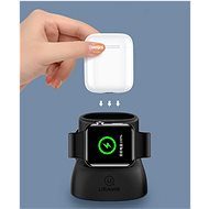 USAMS US-ZJ051 2in1 Silicon Charging Holder For Apple Watch And AirPods black - Stojánek