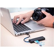 Vention USB 2.0 to 3x USB / TF / SD / Micro USB-B HUB 0.15M Black ABS Type - USB Hub