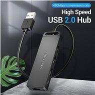 Vention 4-Port USB 2.0 Hub with Power Supply 0.15m Black - USB Hub