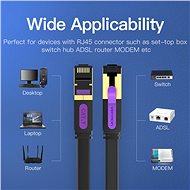 Vention Flat Cat.7 Patch Cable 2m Black - Síťový kabel