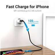 Vention Lightning MFi to USB 2.0 Braided Cable (C89) 1M Gray Aluminum Alloy Type - Datový kabel