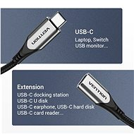 Vention Nylon Braided Type-C (USB-C) Extension Cable (4K / PD / 60W / 5Gbps / 3A) 1m Gray - Datový kabel