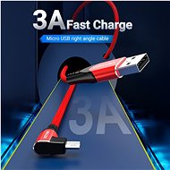 Vention Reversible 90° USB 2.0 -> microUSB Cotton Cable Red 1m Aluminium Alloy Type - Datový kabel