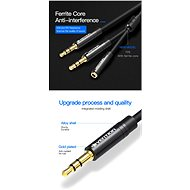 Vention 2x 3.5mm (M) to 4-Pole 3.5mm (F) Stereo Splitter Cable 0.3M Black Metal Type - Redukce