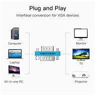 Vention VGA Male to Female Adapter Silvery Metal Type - Redukce