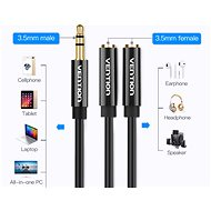 Vention 3.5mm Male to 2x 3.5mm Female Stereo Splitter Cable 0.3m Black ABS Type - Redukce