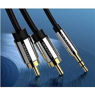Vention 3.5mm Jack Male to 2x RCA Male Audio Cable 1.5m Black Metal Type - Audio kabel