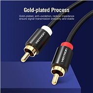 Vention 2x RCA Male to Male Audio Cable 1.5m Black Metal Type - Audio kabel