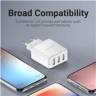 Vention Smart 3-Port USB Wall Charger 17W (3x 2.4A) White - Nabíječka do sítě