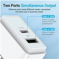 Vention USB-A Quick 3.0 18W + USB-C PD 20W Wall Charger White - Nabíječka do sítě