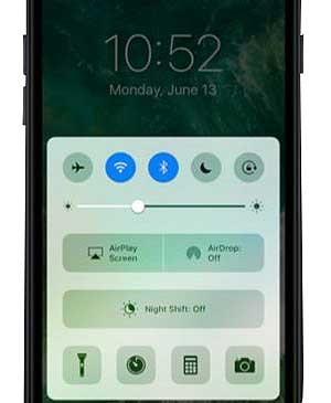 iOS 10 - ovládací centrum