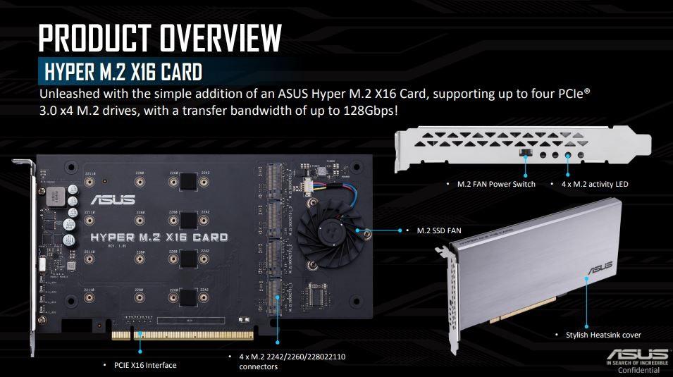 ASUS HPER VROC RAID M.2 karta pro platformu X299 s Core i9